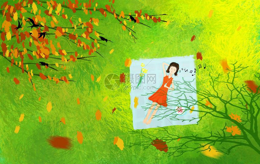 秋天躺在草坪上的女孩图片