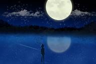 星空下的男孩插画图片