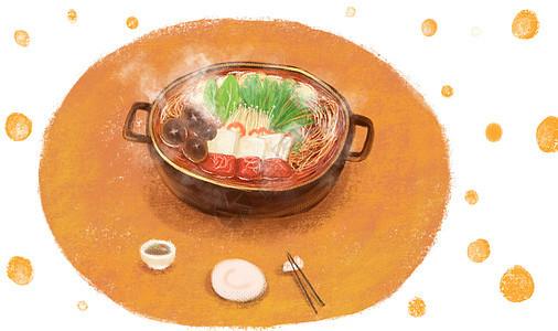 火锅插画背景图片