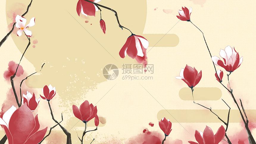 中国风水墨玉兰花背景图片