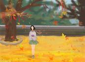 秋季风景少女等候插画图片