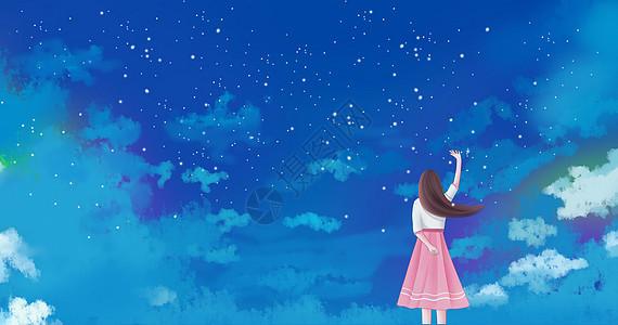 少女梦境插画图片