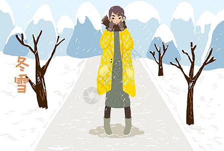 冬雪女孩插画图片