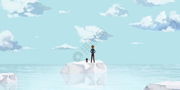 海洋冰川插画图片