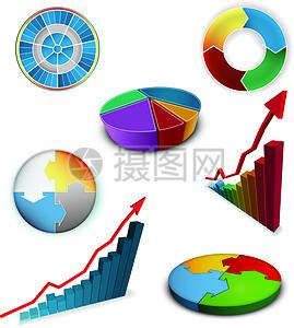 立体数据图表矢量图图片