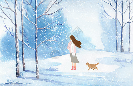 冬天下雪插画图片