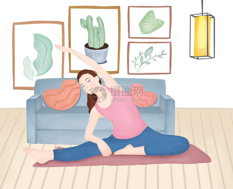 瑜伽美女清新插画图片