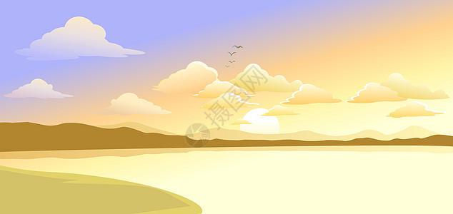 江畔落日图片