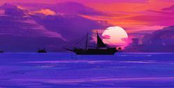 唯美海面手绘插画图片