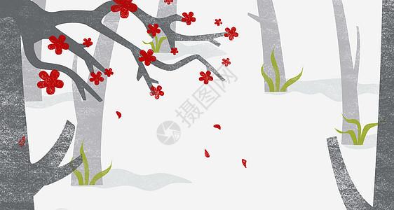 卡通下雪背景图片