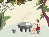 树藤下看书的女孩图片
