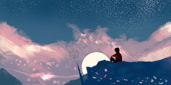 登山日出场景插画图片