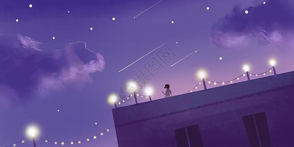 屋顶浪漫灯光插画图片