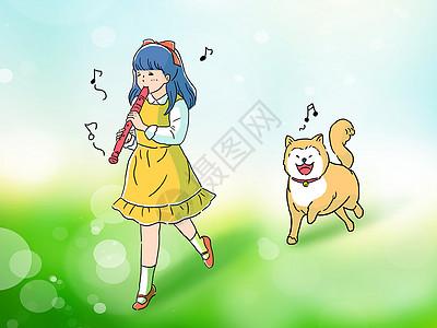 小女孩和柴犬狗手绘插画图片