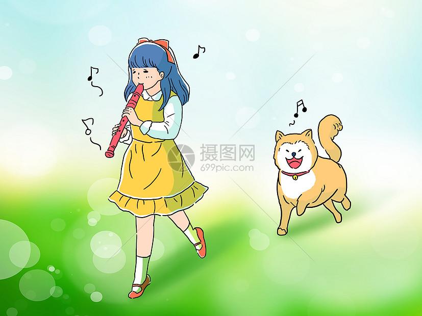 小女孩和柴犬狗手绘插画