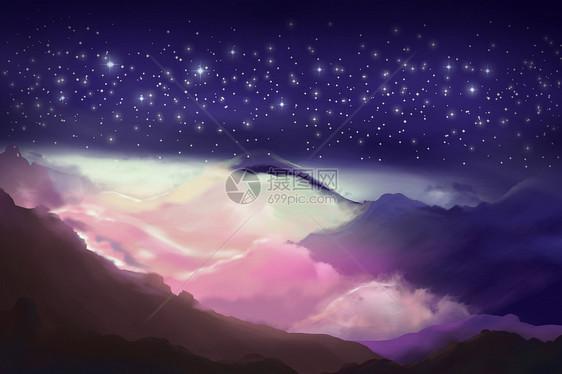 山脉星空背景图片