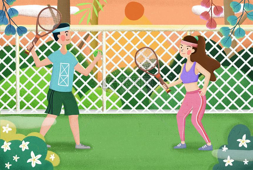 运动男女手绘插画图片