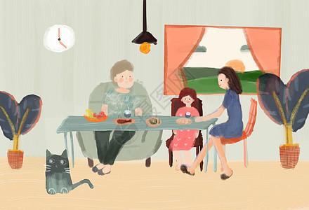 小清新一家人吃饭背景图图片