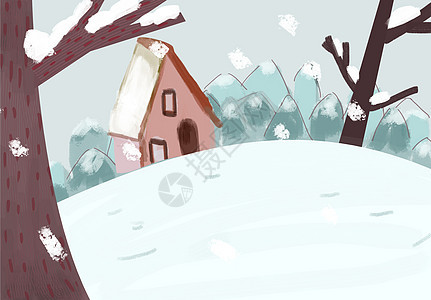 冬季雪景插画图片