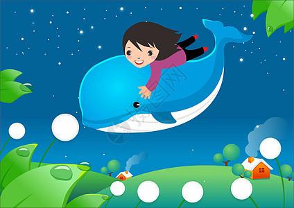 海豚上的女孩图片