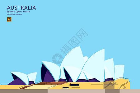 悉尼歌剧院矢量建筑插画图片