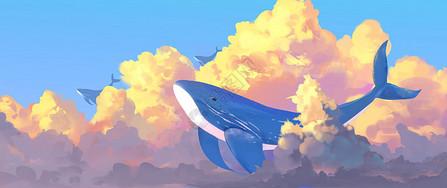 梦幻天空唯美手绘插画图片