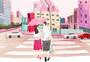 粉红城市情侣插画图片
