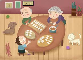 立冬包饺子 过年包饺子图片