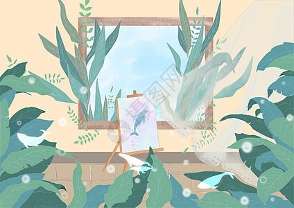 鲸鱼日记插画图片