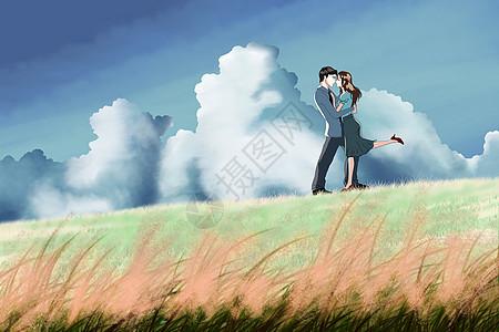郊外草地上相拥的情侣图片