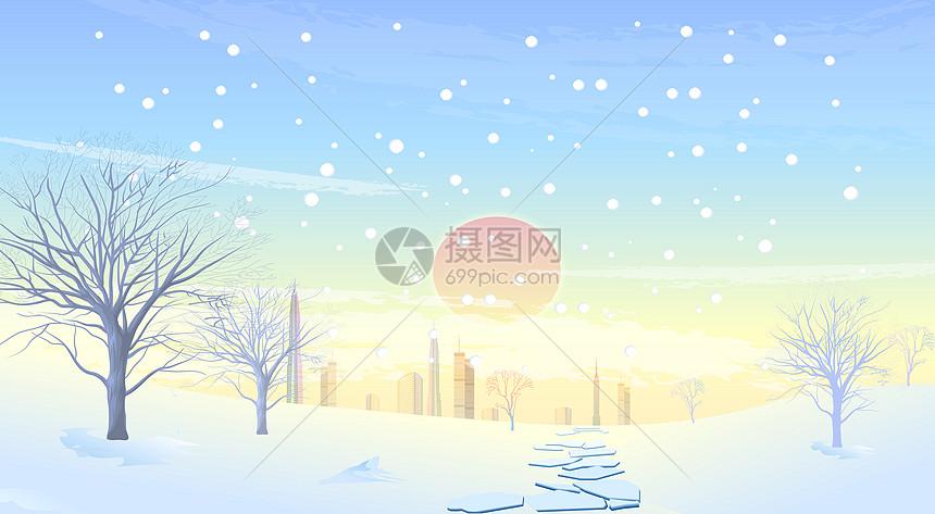 冬天寒冬里城市雪景图片
