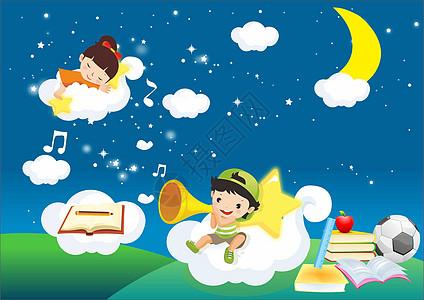 星空里学习的孩子图片