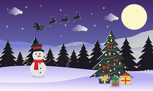 圣诞节插画背景图片