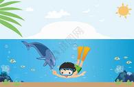 海豚与男孩图片