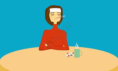 感冒吃药的女孩图片