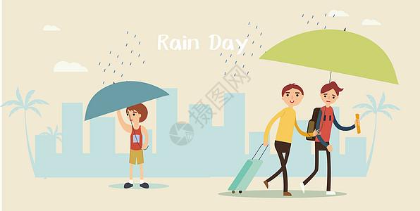 下雨天都市插画图片
