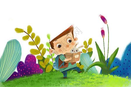 放学路上抱兔子的小男孩图片