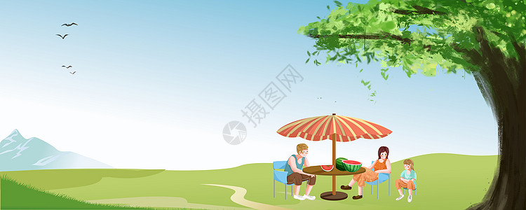 一家人树下乘凉图片