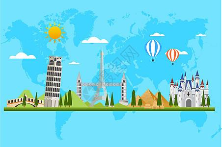 世界名筑风景插画手绘图片