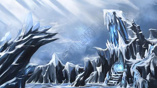 3d冰山唯美写实手绘插画高清图片