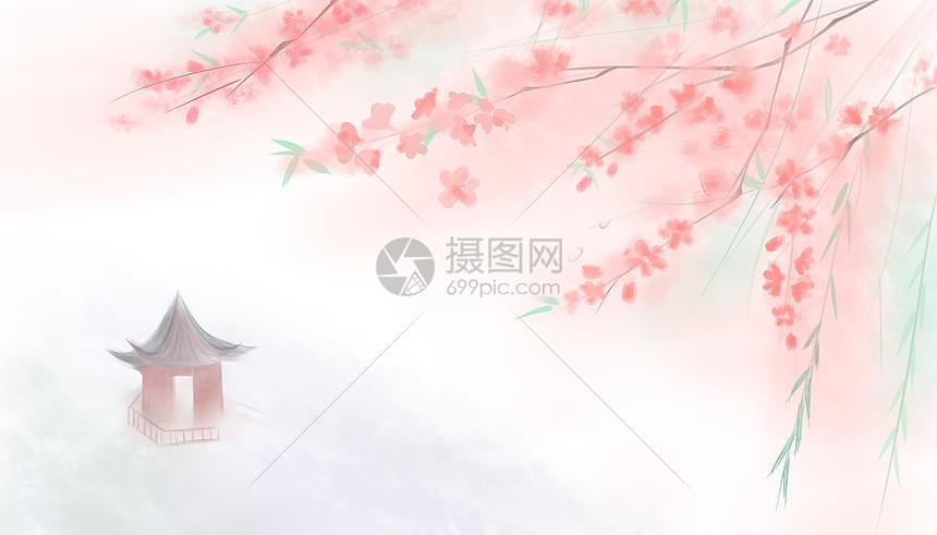 手绘桃花柳条唯美清新中国风背景图片