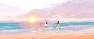 海边日出少女插画图片