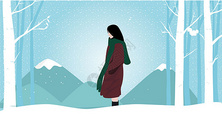 卡通冬天雪景和女孩图片