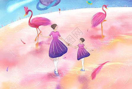 亲子梦幻旅行粉色星球插画图片