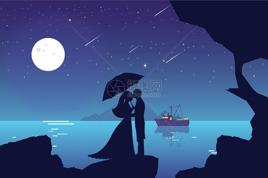 情侣唯美风景手绘插画图片