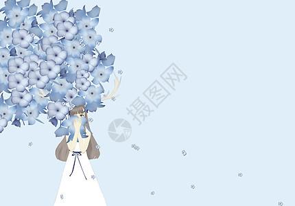 少女花瓣雨下壁纸图片