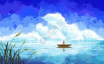 水天一色划船风景插画图片