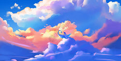 童真天空唯美手绘插画图片