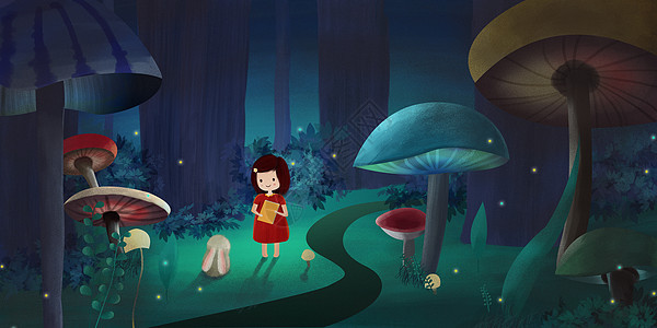 治愈系魔幻森林中的小女孩图片