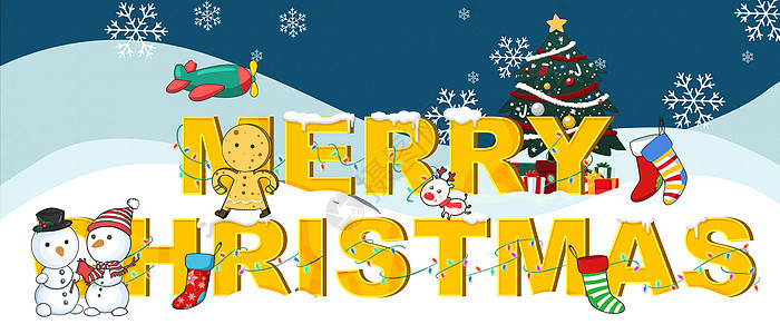 圣诞节插画banner背景图片